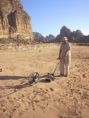 Ground-penetrating radar - Ground penetrating radar survey of an archaeological site in Jordan