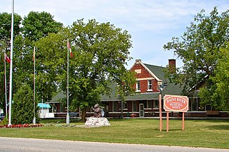 Rainy River, Ontario - Rainy River Town Hall, formerly the town's train station.