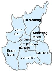 Location of Ou Ya Dav in Ratanakiri