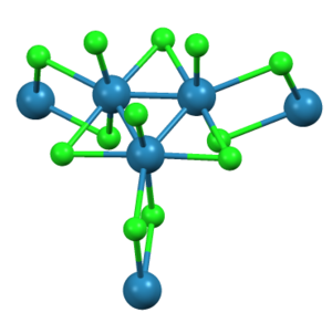 Trirhenium nonachloride - Re3Cl12 cluster within ReCl3, shown with full coordination sphere around each chloride.