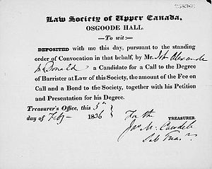 The Law Society of Upper Canada - Receipt dated February 5, 1836 for application to the Law Society of Upper Canada issued to John A. Macdonald, the future first Prime Minister of Canada