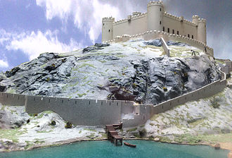 Harlech Castle - Reconstruction of the castle in the early 14th century, seen from the sea
