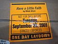 Release date warning on box of copies of Have a Little Faith by Mitch Albom.JPG