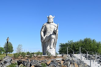 Rural Municipality of Gimli - Gimli Viking statue commemorating Icelandic heritage. The statue was built in 1967 and unveiled by the President of Iceland in the same year. The statue site was then upgraded in 2017, Canada's bicentennial year.
