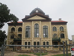 The Colorado County Courthouse under renovation in 2013, with restoration of historic colors.