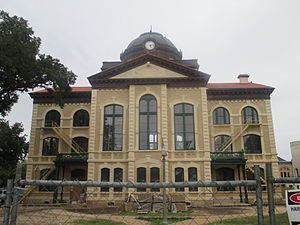 Columbus, Texas - The Colorado County Courthouse under renovation in 2013, with restoration of historic colors