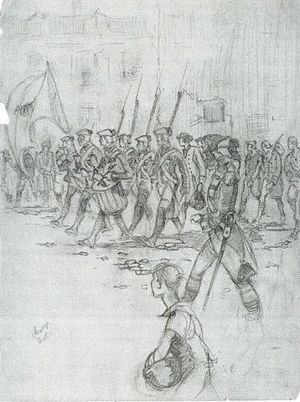 English: Revolutionary parade, ink drawing by ...
