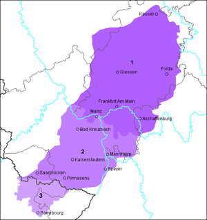 Rhine Franconian dialects - Area where Rhine Franconian is spoken. 1 Hessian, 2 Palatinate German 3 Lorraine Franconian