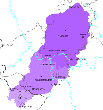 Rhine Franconian dialects - Area where Rhine Franconian is spoken. 1 Hessian, 2 Palatinate German 3 Lorraine Franconian