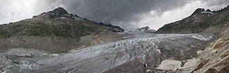 Rhône - The Rhône Glacier above Oberwald, Switzerland is the source of the river.