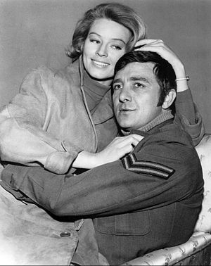 Richard Dawson - Dawson (right) as Peter Newkirk in Hogan's Heroes, 1968, with guest Ulla Strömstedt