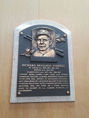 Rick Ferrell - Plaque of Rick Ferrell at the Baseball Hall of Fame