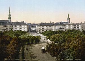 A view of Riga on a postcard. circa 1900.