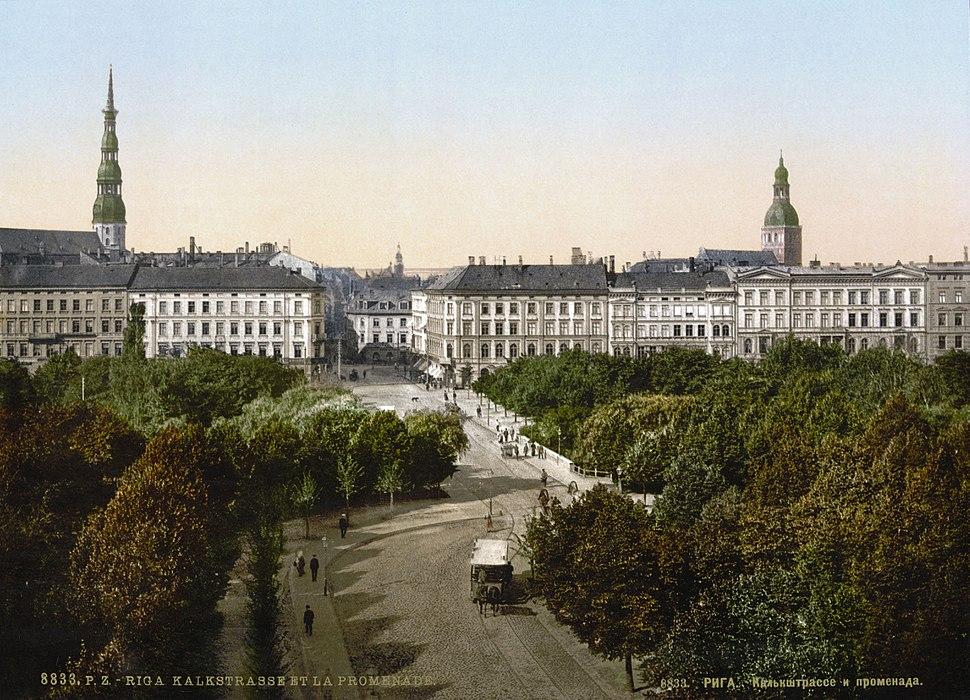 Vecrīgas panorāma ar promenādi pirms 1900. gada
