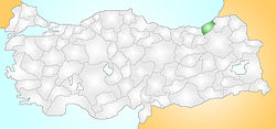 Location of Pazar, Rize within Turkey.
