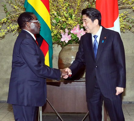 Mugabe meeting Japanese Prime Minister Shinzo Abe in 2016 Robert Mugabe and Shinzo Abe cropped Robert Mugabe and Shinzo Abe 20160328 2.jpg