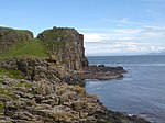 Robert the Bruce's Castle on top of cliff with Kintyre and Islay on the horizon. - geograph.org.uk - 867346.jpg