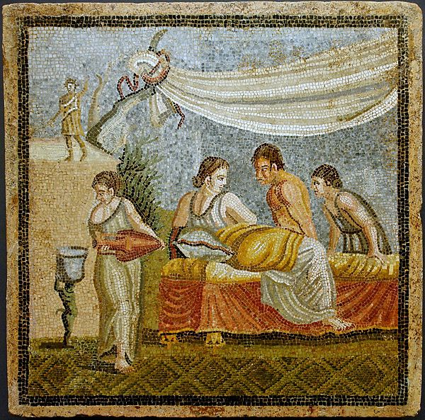 Romantic scene from a mosaic (Villa at Centocelle, Rome, 20 BC–20