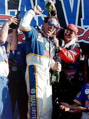 Ron Hornaday Jr. - Hornaday celebrating his championship with owner Dale Earnhardt