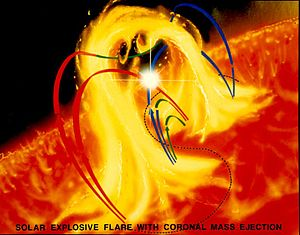 English: An artist's concept depicts a flare e...