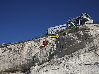 Rosh HaNikra grottoes - Doppelmayr Cable-car in Rosh Hanikra, claimed to be the steepest cable car in the world, with a gradient of 60°