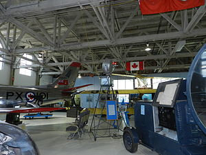 Aerodrome beacon - A portable rotating beacon on display at the Alberta Aviation Museum