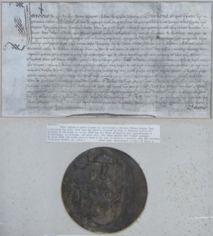 Thomas Monck - Royal licence to alienate the manor of Dolton granted in 1619 by King James I to Sir Thomas Monck (died 1627) of Potheridge, Devon, and his wife Elizabeth. Great Seal of King James I appended. Displayed in Dolton Church