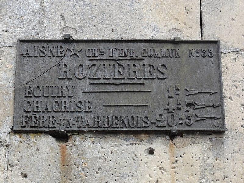 Rozières-sur-Crise (Aisne) vieille plaque routière