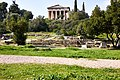 Ruins of the Temple of Apollo Patroos and in the background the Temple of Hephaestus.jpg