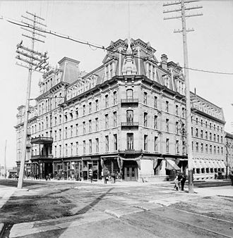 Hydro Ottawa - 1882 image demonstrating the new power lines in front of the Russell House Hotel (Ottawa's foremost hotel at the time) located at the corner of Sparks Street and Elgin Street