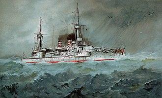 SMS Wörth - Image: S.M. Linienschiff Wörth restoration, cropped