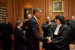 President Barack Obama talks with Justice Sonia Sotomayor prior to her investiture ceremony at the Supreme Court September 8, 2009.
