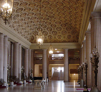 The lobby of the War Memorial Opera House, one of the last buildings erected in Beaux Arts style in the United States SFWMOHLobbySouth.jpg