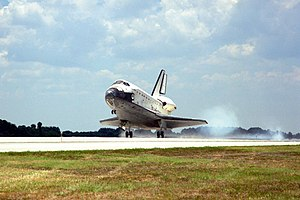 STS-91 - Discovery lands at the Kennedy Space Center's Shuttle Landing Facility, concluding STS-91 and the Shuttle-Mir program