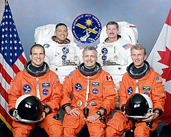 v.l.n.r. vorne: Michael Bloomfield, Marc Garneau, Brent Jett;hinten: Carlos Noriega, Joseph Tanner