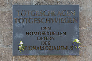 Persecution of homosexuals in Nazi Germany and the Holocaust - Memorial plaque at Sachsenhausen concentration camp