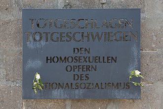 Persecution of homosexuals in Nazi Germany - Memorial plaque at Sachsenhausen concentration camp