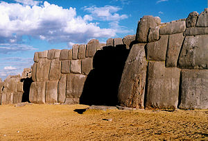 Inca wall of dry stone in Sacsayhuamán fortres...