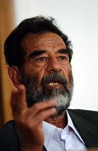 Saddam Hussein speaking at his trial.