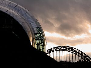 A view of the Sage Gateshead along with the ty...