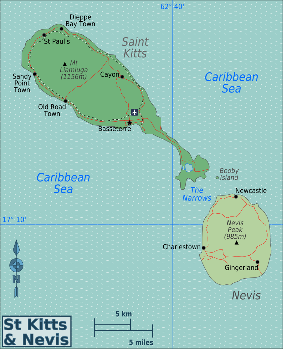 Saint Kitts and Nevis Regions map