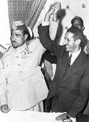 Hamoud al-Gayifi - President Abdullah as-Sallal (left) and Prime Minister Hamoud al-Jaifi