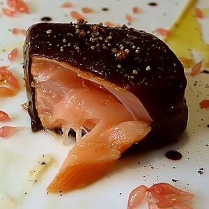The Fat Duck - Image: Salmon in Licorice Gel