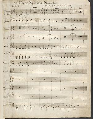 Samuel Wesley - Missa de Spiritu Sancto, in Wesley's hand