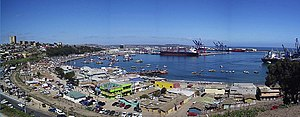 San Antonio, Chile - Panorama of the port of San Antonio, before the construction of a mall which obstructed the view of the port.