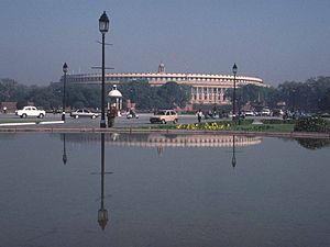 Parliament building in New Delhi (Sansad Bhava...