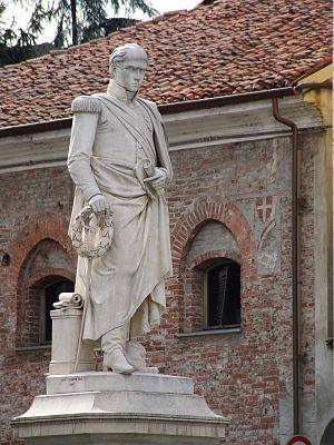 Annibale Santorre di Rossi de Pomarolo, Count of Santarosa - Statue of Santarosa in Savigliano.