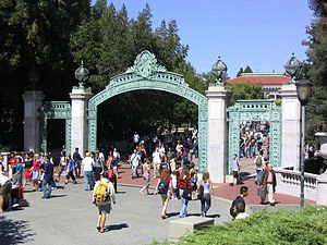Campus of the University of California, Berkeley - Sather Gate marks the original southern entrance to the campus, and now the entrance from Sproul Plaza