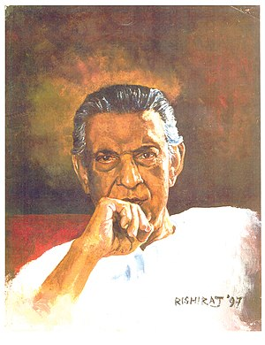 Potrait of Satyajit Ray, painted by Rishiraj S...