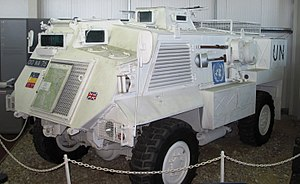 Saxon (vehicle) - A British Army Saxon ARV on display at the REME Museum painted in UN colours.